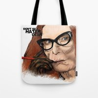 coven Tote Bags featuring Myrtle Snow || Don't be a hater, dear (from American Horror Story: Coven) by PandaToyz