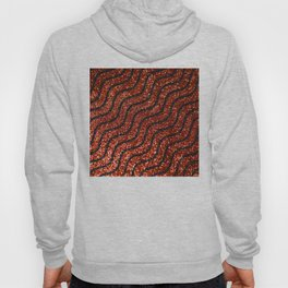 Red Glitter With Black Squiggle Pattern Hoody