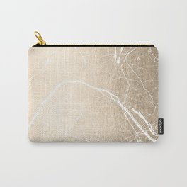 Paris France Minimal Street Map - Gold on White Carry-All Pouch