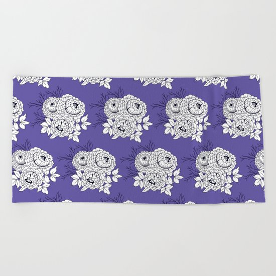 Rose bouquets floral pattern Beach Towel