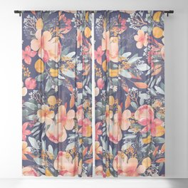Navy Floral Sheer Curtain