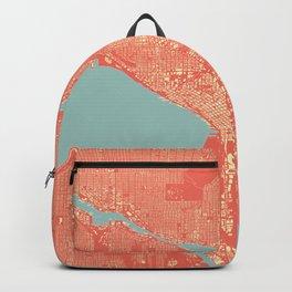 Seattle, Washington City Map, Colorful Backpack
