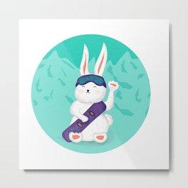 Manekineko bunny goes snowboarding Metal Print