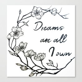 Dreams are all I own Canvas Print