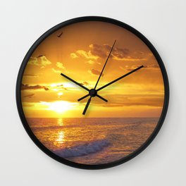 Not Yet - Sunset Art By Sharon Cummings Wall Clock
