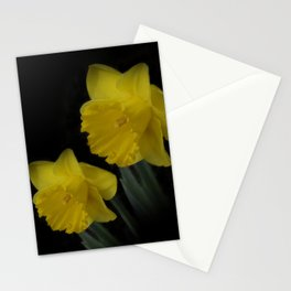 golden daffodils on black Stationery Cards