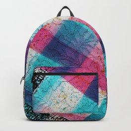 Artsy geometrical teal pink black watercolor lace Backpack