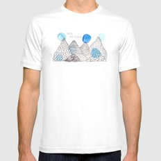Flying high through the mountains White MEDIUM Mens Fitted Tee