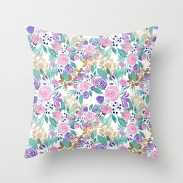Girly Pink Violet Purple Gold Watercolor Flowers Throw Pillow