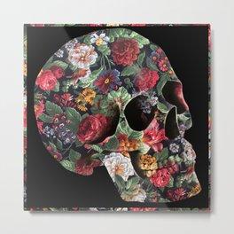 Skull and Flowers Metal Print