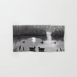 The Pond Black and White Hand & Bath Towel