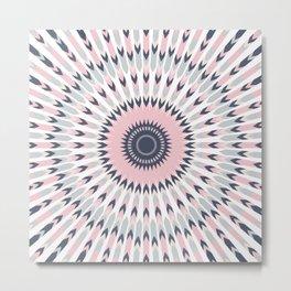 Boho Chic, Tribal Arrow Mandala Pattern, Pink, Grey, Navy Metal Print