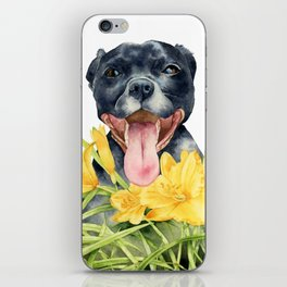 Joy | Pit Bull Dog and Daylily Watercolor Painting iPhone Skin