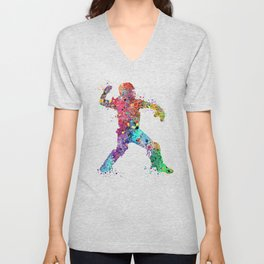 Baseball Softball Catcher 3 Art Sports Poster Unisex V-Neck