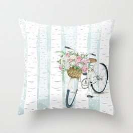 White Vintage bicycle in a Birch Forest Throw Pillow