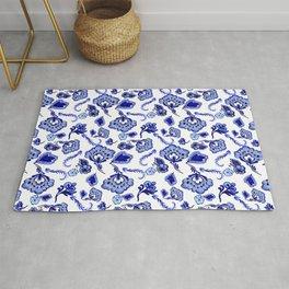 Dutch Blue Delftware Floral Inspired Pattern Rug