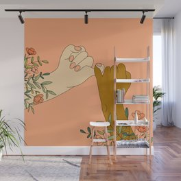 Pinky Promises Modern Floral Print Wall Mural