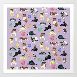 Valentine's Day Candy Hearts Puppy Love - Purple Art Print