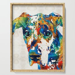 Colorful Great Dane Art Dog By Sharon Cummings Serving Tray
