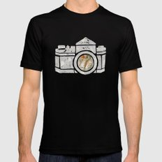 White Camera Black MEDIUM Mens Fitted Tee