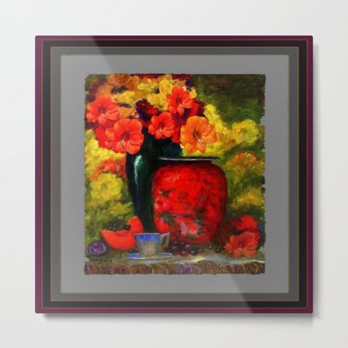RED-ORANGE AMARYLLIS RED VASE STILL LIFE Metal Print
