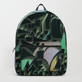 Black Mosaic- Mixed Media Abstract Collage  Backpack