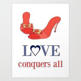 Shoe Love Conquers All Art Print