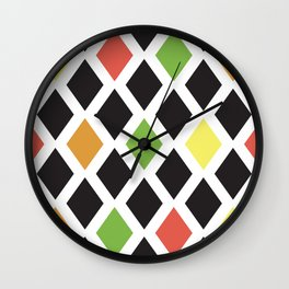 Seamless pattern with color rhombus shapes. Wall Clock