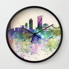 Lyon skyline in watercolor background Wall Clock