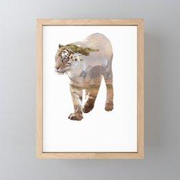 Tiger Double Exposure Animal Silhouette Surreal Humor Cool Pun Gift Framed Mini Art Print