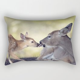 White-tailed female deer with  her  little baby Rectangular Pillow