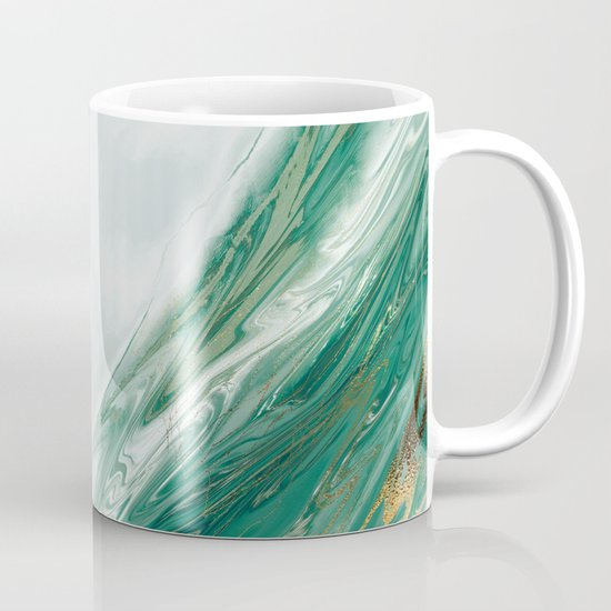 Emerald Jade Green Gold Accented Painted Marble by blackstrawberry