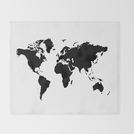 Black and White world map Throw Blanket