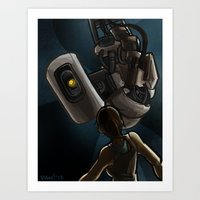 glados Art Prints featuring GlaDOS and Chell by quietsnooze