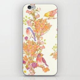 Romantic Vintage Design of Birds & Flowers - Cream Peach iPhone Skin