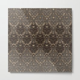 Oriental Pattern -Pastels and Brown Leather texture Metal Print