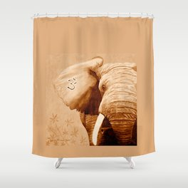 OM - ELEFANT sepia Shower Curtain