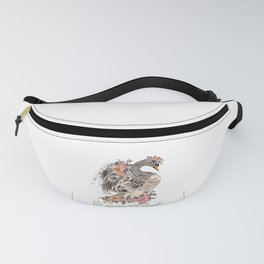 Be swan not a duck. Fashion trendy design with bird in rose flowers, conceptual art print Fanny Pack