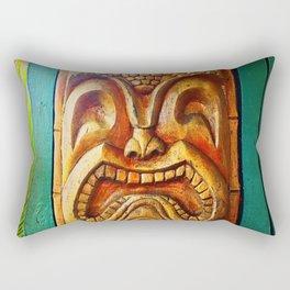Crazy, fun, fierce, Hawaiian retro wood carving tiki face close-up photo Rectangular Pillow