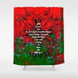 Serenity Prayer Inspirational Quote With Creative Motivational Art Shower Curtain