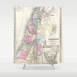 Old 1855 Historic State of Palestine Jerusalem Zion Map Shower Curtain