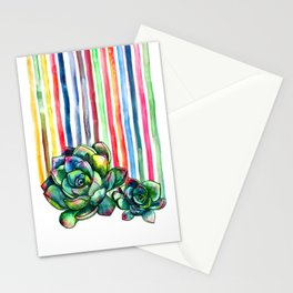 Rainbow Succulents - pencil & watercolor illustration Stationery Cards