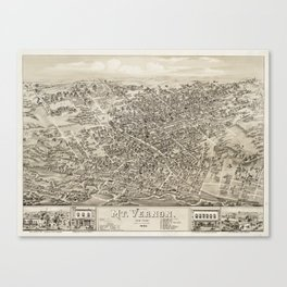 Vintage Pictorial Map of Mount Vernon NY (1883) Canvas Print