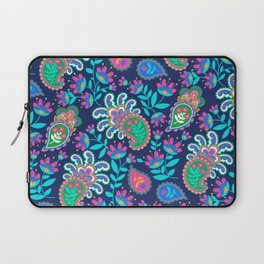 Pretty Bohemian Paisley Navy Green Turquoise and Pink Laptop Sleeve