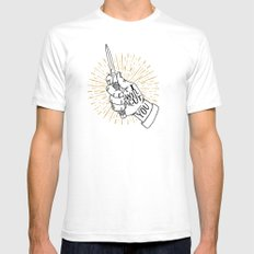 I will cut you White SMALL Mens Fitted Tee