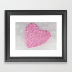 Pink Snow heart Framed Art Print