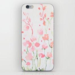 Watecolor Pink and Green Wildflowers iPhone Skin