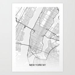 New York NY Map White Art Print