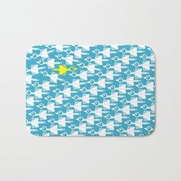 Blue and White Bird Pattern Bath Mat