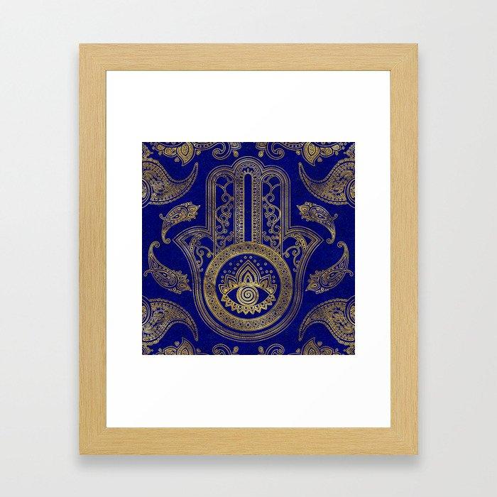 Hamsa Hand  - gold on lapis lazuli Framed Art Print
